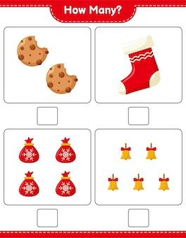 Conteggio del gioco, quante decorazioni natalizie educativo per bambini gioco, foglio di lavoro stampabile,
