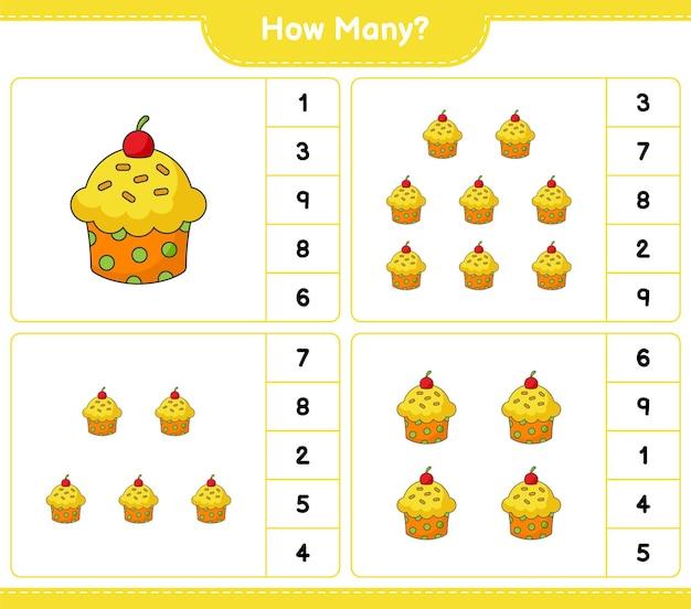 Gioco di conteggio, quanti cup cake. gioco educativo per bambini, foglio di lavoro stampabile