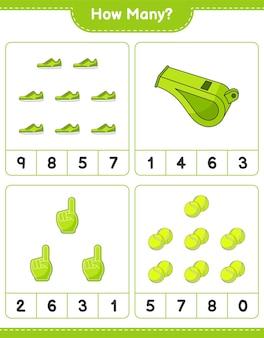 Gioco di conteggio quanti foam finger whistle tennis ball e sneaker gioco educativo per bambini