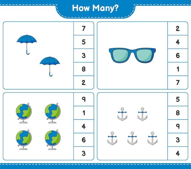 Conteggio del gioco, quanti globo, ombrello, occhiali da sole e ancora. gioco educativo per bambini, foglio di lavoro stampabile