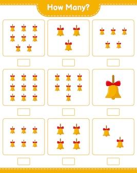 Conteggio del gioco, quante campane d'oro di natale. gioco educativo per bambini, foglio di lavoro stampabile, illustrazione