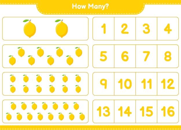Conteggio del gioco, quanti limoni. gioco educativo per bambini, foglio di lavoro stampabile