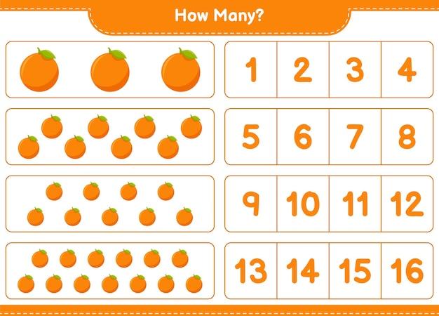 Conteggio del gioco, quanti orange. gioco educativo per bambini, foglio di lavoro stampabile