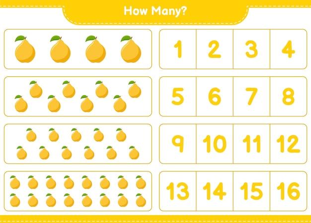 Conteggio del gioco, quante mele cotogne. gioco educativo per bambini, foglio di lavoro stampabile