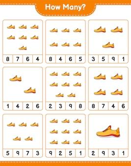 Gioco di conteggio quante scarpe da corsa gioco educativo per bambini foglio di lavoro stampabile