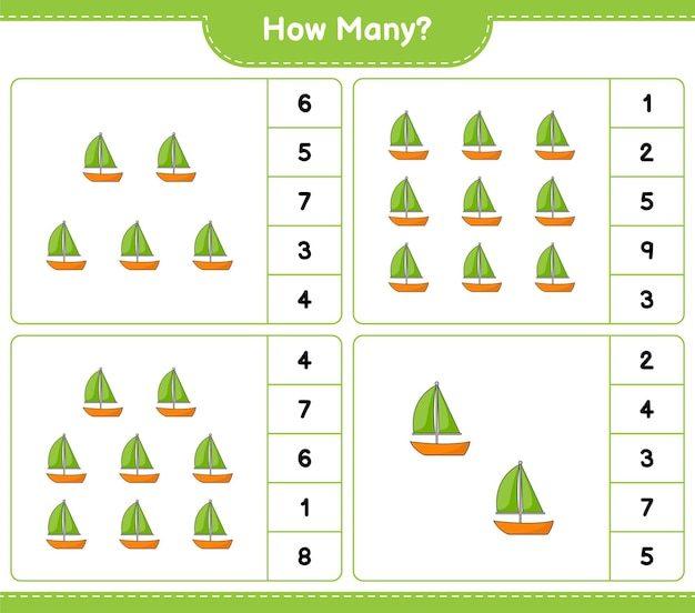 Gioco di conteggio, quanti barca a vela. gioco educativo per bambini, foglio di lavoro stampabile