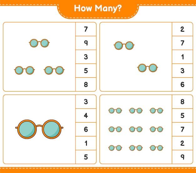 Gioco di conteggio, quanti occhiali da sole. gioco educativo per bambini, foglio di lavoro stampabile