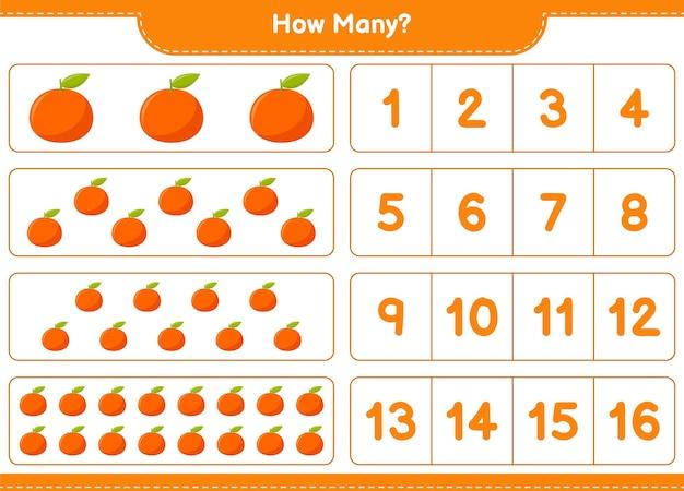 Conteggio del gioco, quanti tangerin. gioco educativo per bambini, foglio di lavoro stampabile