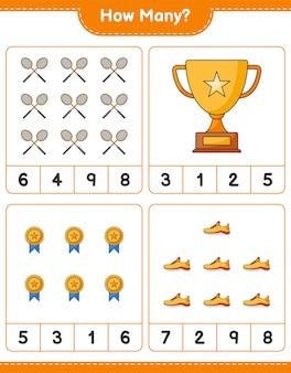Gioco di conteggio quanti trofei scarpe da corsa e racchette da badminton gioco educativo per bambini