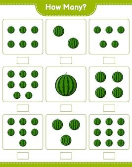 Conteggio del gioco, quante angurie. gioco educativo per bambini, foglio di lavoro stampabile