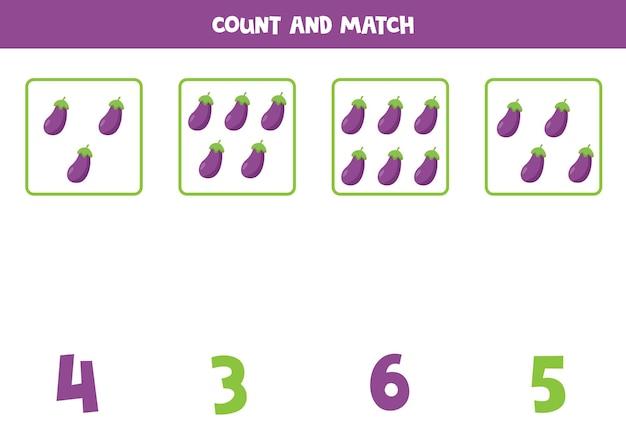Conteggio del gioco per bambini. contare tutte le melanzane dei cartoni animati e abbinarle al numero. foglio di lavoro per bambini.