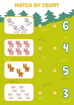 Conteggio del gioco per bambini in età prescolare conta gli animali della fattoria nella foto e scegli la risposta giusta
