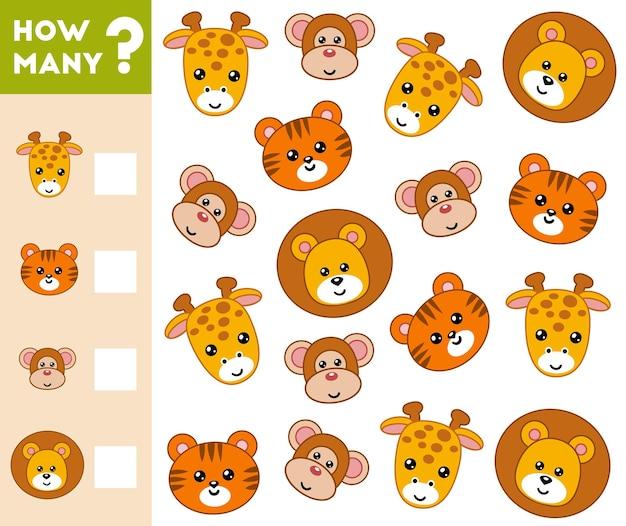 Gioco di conteggio per bambini in età prescolare conta quanti animali e scrivi il risultato