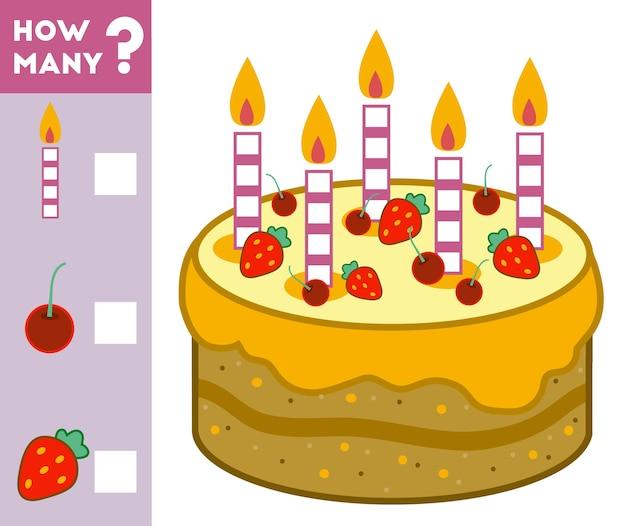 Gioco di conteggio per bambini in età prescolare conta quanti ingredienti per la torta e scrivi il risultato