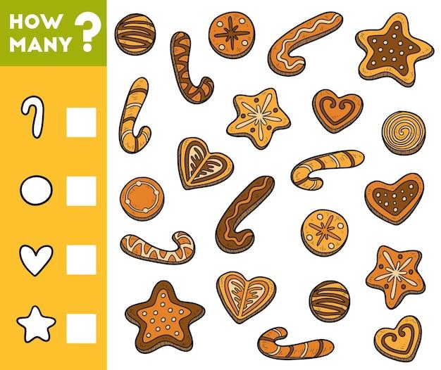 Gioco di conteggio per bambini in età prescolare conta quanti biscotti e scrivi il risultato