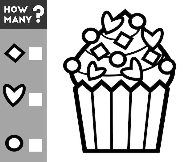 Gioco di conteggio per bambini in età prescolare conta quante decorazioni per cupcake e scrivi il risultato