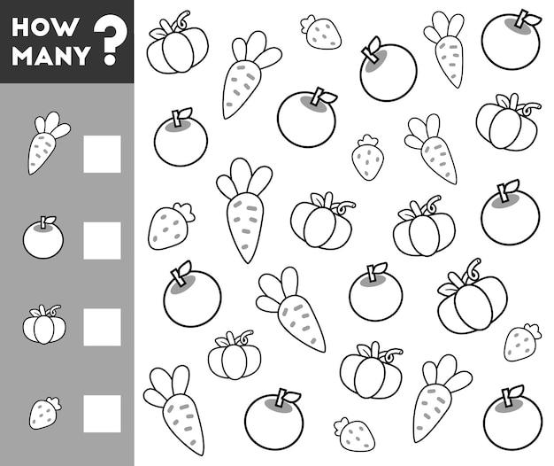 Gioco di conteggio per bambini in età prescolare conta quanti frutti e verdure e scrivi il risultato