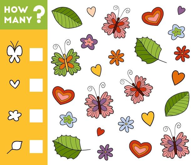 Gioco di conteggio per bambini in età prescolare conta quanti oggetti della natura e scrivi il risultato