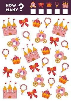 Gioco di conteggio per bambini in età prescolare conta quanti oggetti principessa e scrivi il risultato