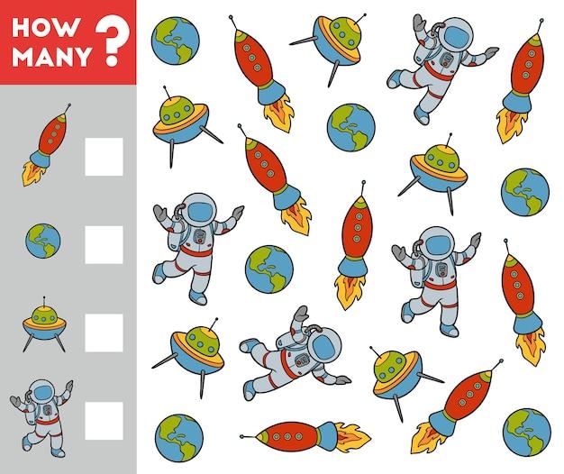 Gioco di conteggio per bambini in età prescolare conta quanti oggetti spaziali e scrivi il risultato