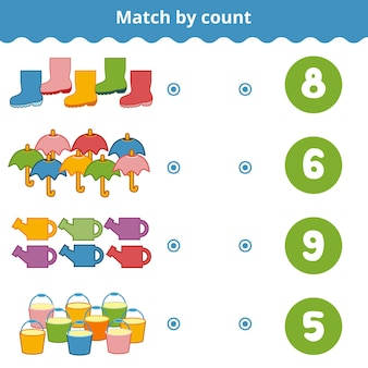 Gioco di conteggio per bambini in età prescolare conta gli elementi nell'immagine e scegli la risposta giusta