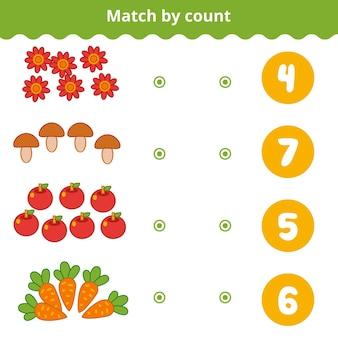 Conteggio del gioco per bambini in età prescolare conta gli oggetti naturali nell'immagine e scegli la risposta giusta