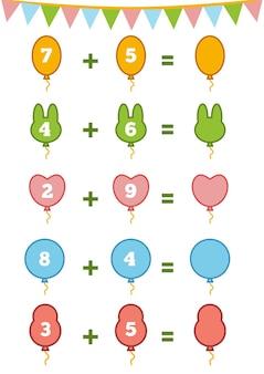 Gioco di conteggio per bambini in età prescolare conta i numeri nell'immagine e scrivi il risultato