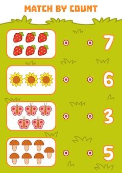 Conteggio del gioco per bambini in età prescolare conta gli oggetti nell'immagine e scegli la risposta giusta
