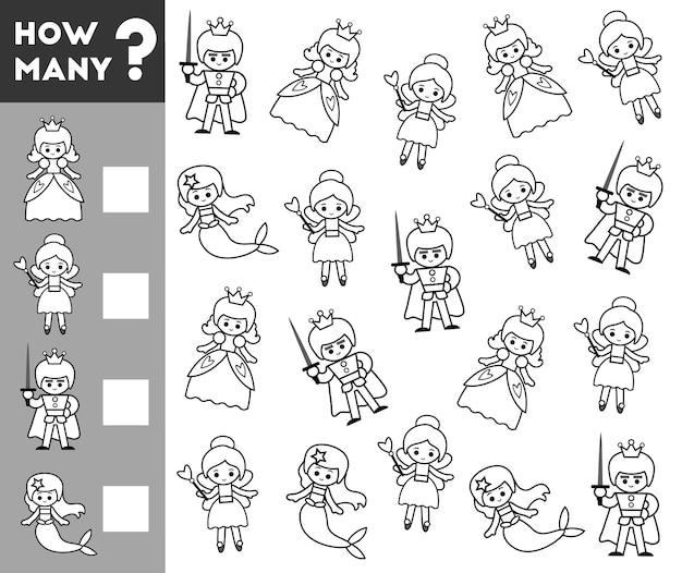Gioco di conteggio per bambini in età prescolare. educativo un gioco matematico. conta quanti personaggi delle fiabe e scrivi il risultato!