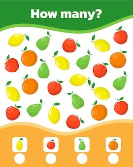 Gioco di conteggio per bambini in età prescolare educativo un gioco matematico conta quanti oggetti a