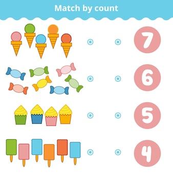 Gioco di conteggio per bambini in età prescolare. educativo un gioco matematico. conta gli elementi nell'immagine e scegli la risposta giusta. set di dolci