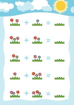 Gioco di conteggio per bambini in età prescolare educativo un gioco matematico fiori
