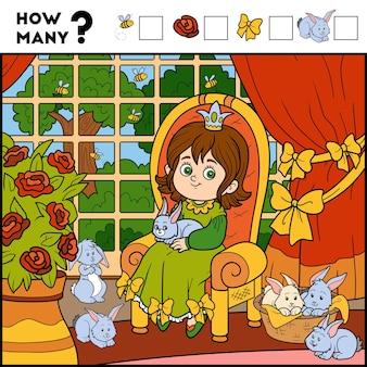 Gioco di conteggio per bambini in età prescolare educativo un gioco matematico principessa e sfondo