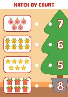 Conteggio del gioco per bambini in età prescolare conta gli oggetti di natale nell'immagine e scegli la risposta giusta