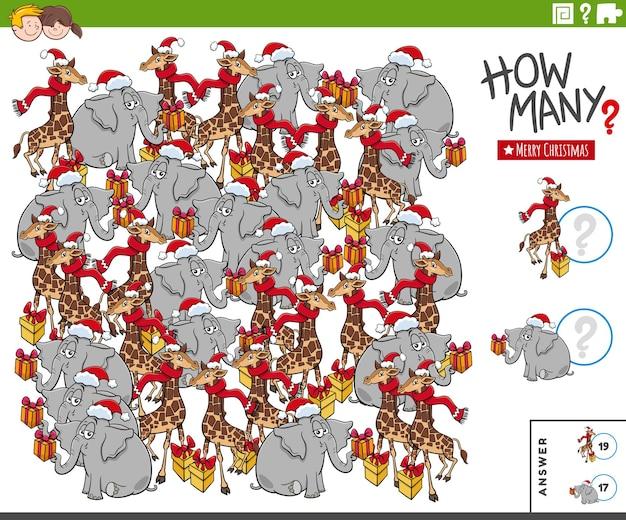 Gioco di conteggio con personaggi animali dei cartoni animati nel periodo natalizio
