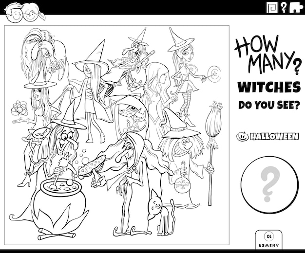 Gioco di conteggio con le streghe dei cartoni animati pagina del libro da colorare dei personaggi di halloween