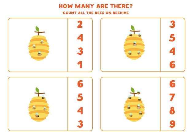 Gioco di conteggio con simpatiche api sugli alveari. contare il numero di angoli.