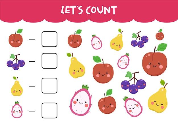 Conteggio del gioco con graziosi frutti colorati