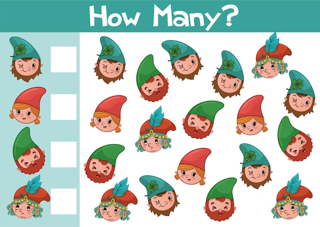Conteggio dell'illustrazione del gioco gnome per bambini in età prescolare in formato vettoriale