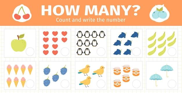 Contare il gioco di matematica per bambini. numeri matematici che contano enigma, fogli di lavoro di matematica per bambini