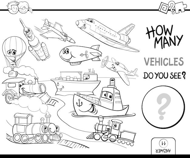 Libro da colorare per il conteggio dei veicoli