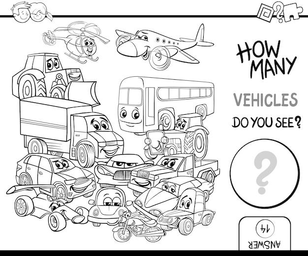Pagina di colorazione dei veicoli di conteggio Vettore Premium