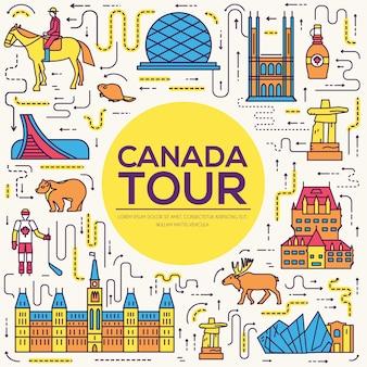 Paese canada viaggio vacanza infografica di luogo e caratteristica