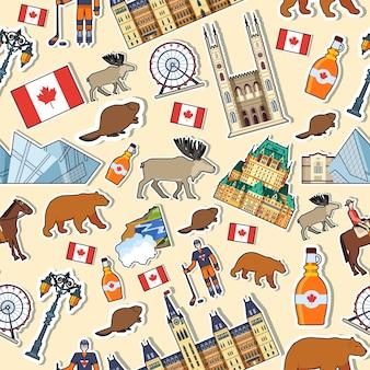 Luoghi di vacanza di viaggio del paese del canada. insieme di architettura, moda, persone, oggetti, natura.