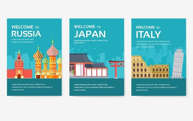 Paese di egitto, austria, germania, india, russia, thailandia, giappone, set di carte italia.