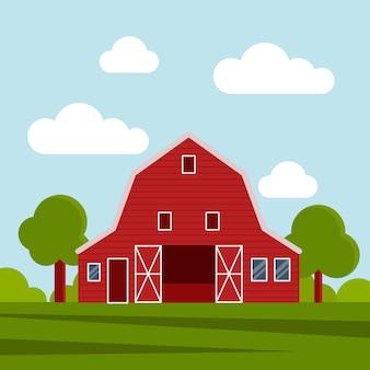 Fattoria di campagna su un prato verde, costruzione agricola. illustrazione vettoriale piatta su uno sfondo di cielo blu con nuvole