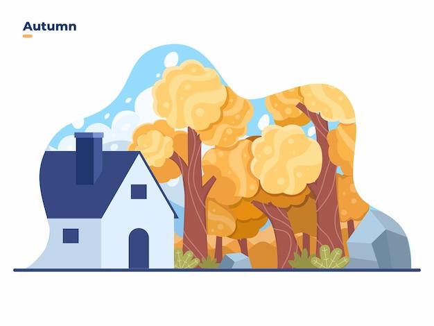 Casa di campagna nella foresta durante la stagione autunnale con un bellissimo paesaggio