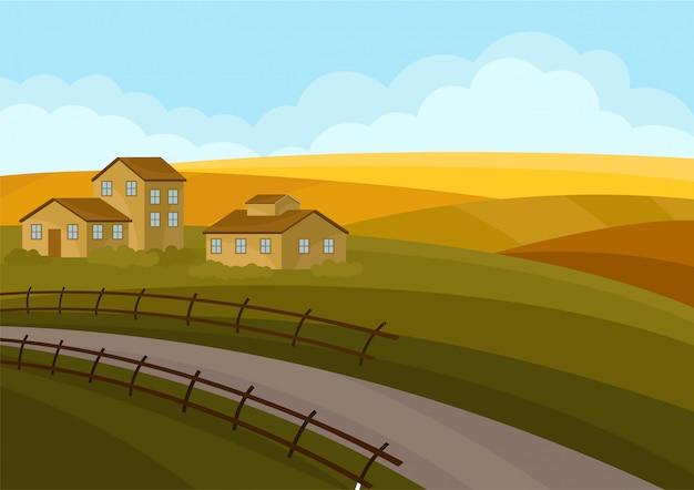 Paesaggio di campagna con case, strade, campi giallo verde.
