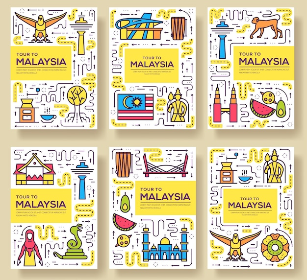Linea sottile di carte di viaggio paese malaysia