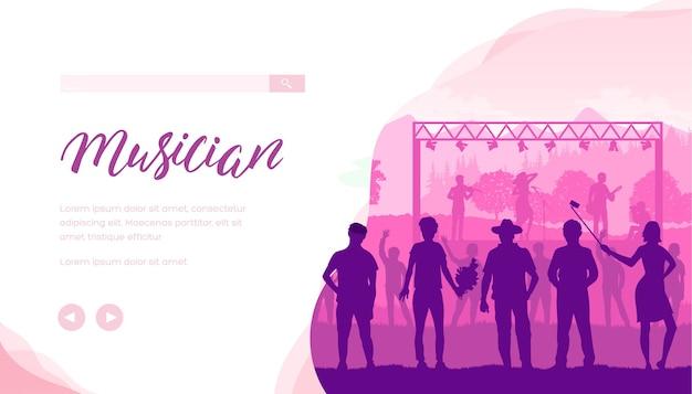 Layout di banner web festival di musica country